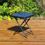 Strong metal folding drinks/side table Tempered glass top Compact folding design Ideal for patios & gardens