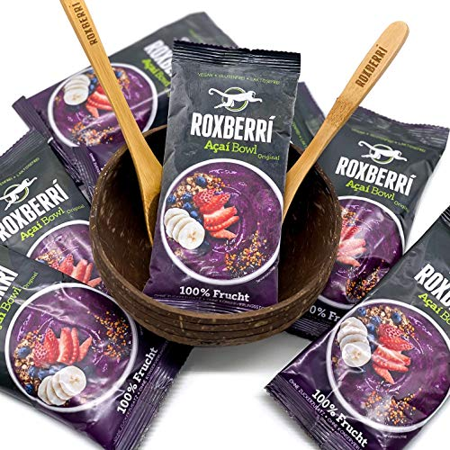 ROXBERRI® Acai Bowl Set - 15 x 150g Acai Püree + Coconut Bowl - 15 Smoothie Packs aus Acai Beeren - Superfood Brasilien - schnellere Zubereitung als Acai Pulver