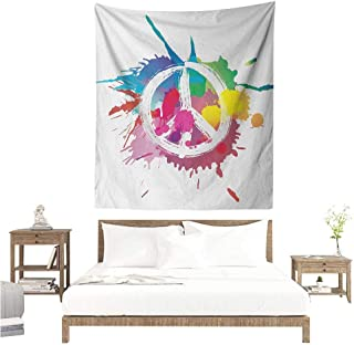 Agoza Groovy Wall Tapestry for Bedroom Famous Widely Used Peace Logo with Colorful Splash Grunge Style Pacifism Themed Home Decorations for Bedroom Dorm Decor 51W x 60L INCH Multicolor