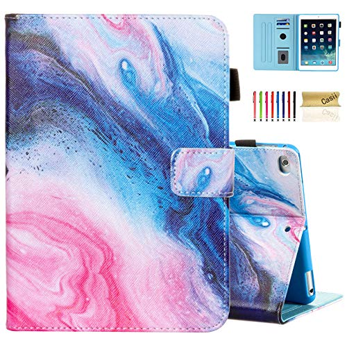 Casii Case for iPad 9.7 2018/2017, iPad Air 2/iPad Air, Synthetic Leather Folio Stand Smart Magnetic Cover with Auto Sleep Wake for iPad 5th/6th Generation [Corner Protection], Vortex Quicksand