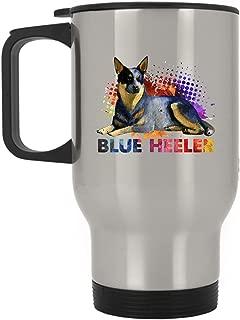 Blue Heeler Travel Mug - Colorful Blue Heeler Stainless Steel Mug, Travel Mug - Silver
