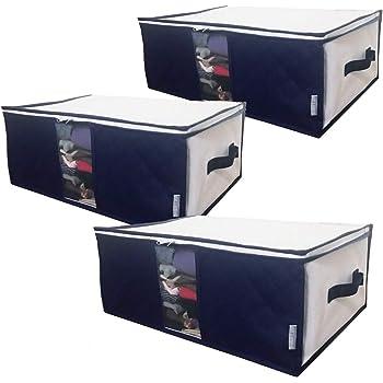 InikoLife 衣類 小物 収納 ケース 3枚組 収納袋 上部ファスナー式 持ち手 クリア窓付 活性炭シート入 畳んで入れるだけ 衣類や小物をスッキリ収納 上部ファスナー式で出し入れもしやすい 通気性に優れた不織布製 日本メーカー企画 (スッキリ藍色シリーズ)