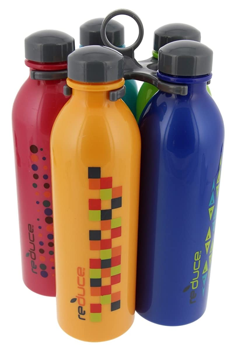 reduce WaterWeek Classic Reusable Water Bottle Set with Carry Carousel – 5 Flask Pack, 16oz – BPA Free, Leak Proof Twist Off Cap – Assorted Colors - Perfect for Sport - Simply Fill, Chill & Go