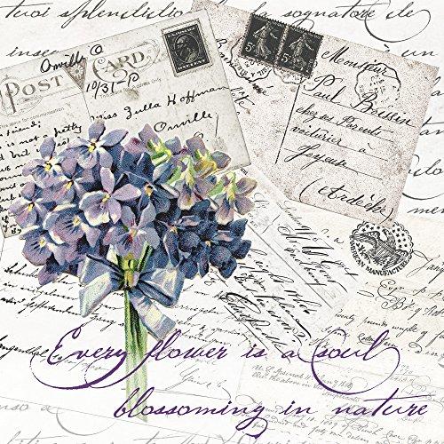 20 Servietten Vergissmeinnicht auf Postkarten / Blumen / Vintage 33x33cm