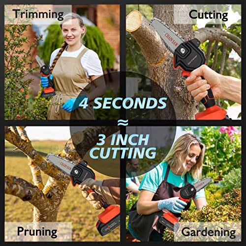 Mini Chainsaw, 4'' Cordless Electric Portable Chain Saw, Handheld Pruning Shears Chainsaw for Tree Branch Wood Cutting Trimming (21V Rechargeable Battery )