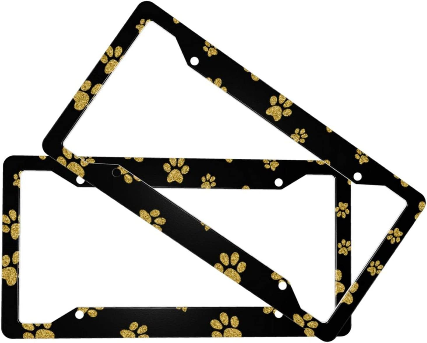 2 PCS Car Great interest License Plate Frames Accessories with D Our shop OFFers the best service Golden Glitter