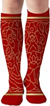 Chinese Vintage Classic Cloud 19.7 Inch Compression Socks High Boots Stockings Long Hose for Yoga Walking for Women Man