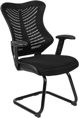 Flash Furniture Designer Black Mesh Sled Base Side Reception Chair with Adjustable Arms