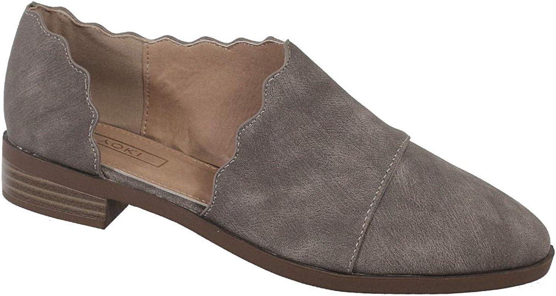 Yoki Women's Scalloped Slip-on CHASLIE Open Side Loafers