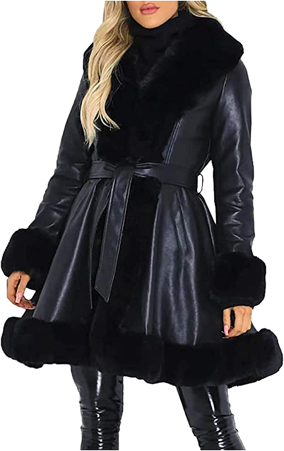DEATU Women's Faux Leather Open-Front Jacket Dressy Belted Coats Outerwear Overcoat with Faux-Fur Collar and Cuff Hem
