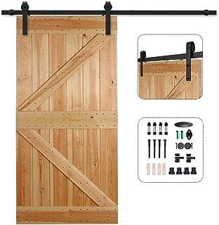 CCJH Sliding Barn Wood Door Hardware Modern Interior Door Hardware Track Set, 7FT for Single Door