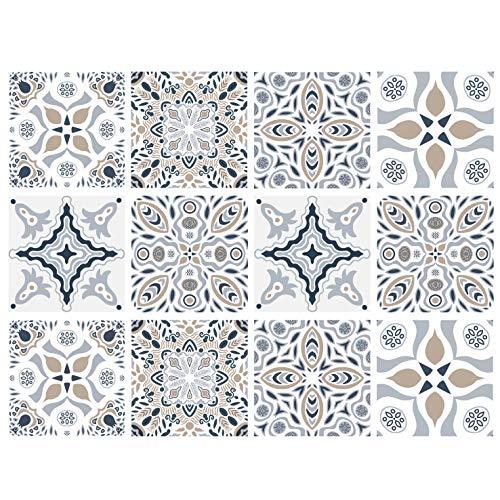 Juego de 12 pegatinas decorativas para azulejos de 15,2 x 15,2 cm, autoadhesivas, extraíbles, grises, baldosas, impermeables, para cocina, baño, escaleras, decoración del hogar