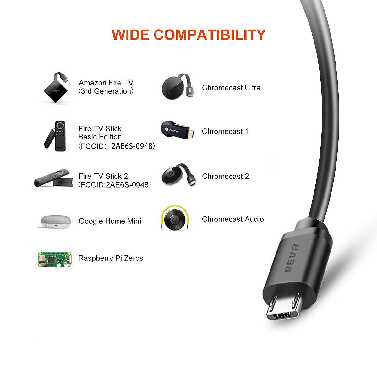 BEVA Chromecast y TV Stick Adaptador Ethernet, Micro USB a RJ45 Adaptador de Red LAN con Cable de Alimentación USB 2.0 para Google Chromecast 3/ Ultra/ 2/1/ Audio, TV Stick Basic: Amazon.es: Electrónica