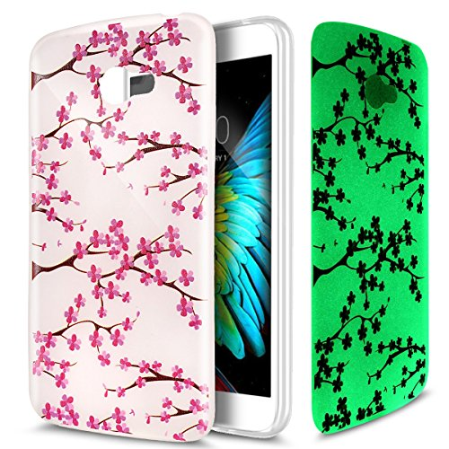 Cover LG K5,Custodia LG K5,Crystal Traslucido TPU luminoso nottilucenti con Colorato dipinta Motivo del fiore per LG K5 mper Case Custodia Cover per LG K5,Fiore di colore rosa del fiore della prugna