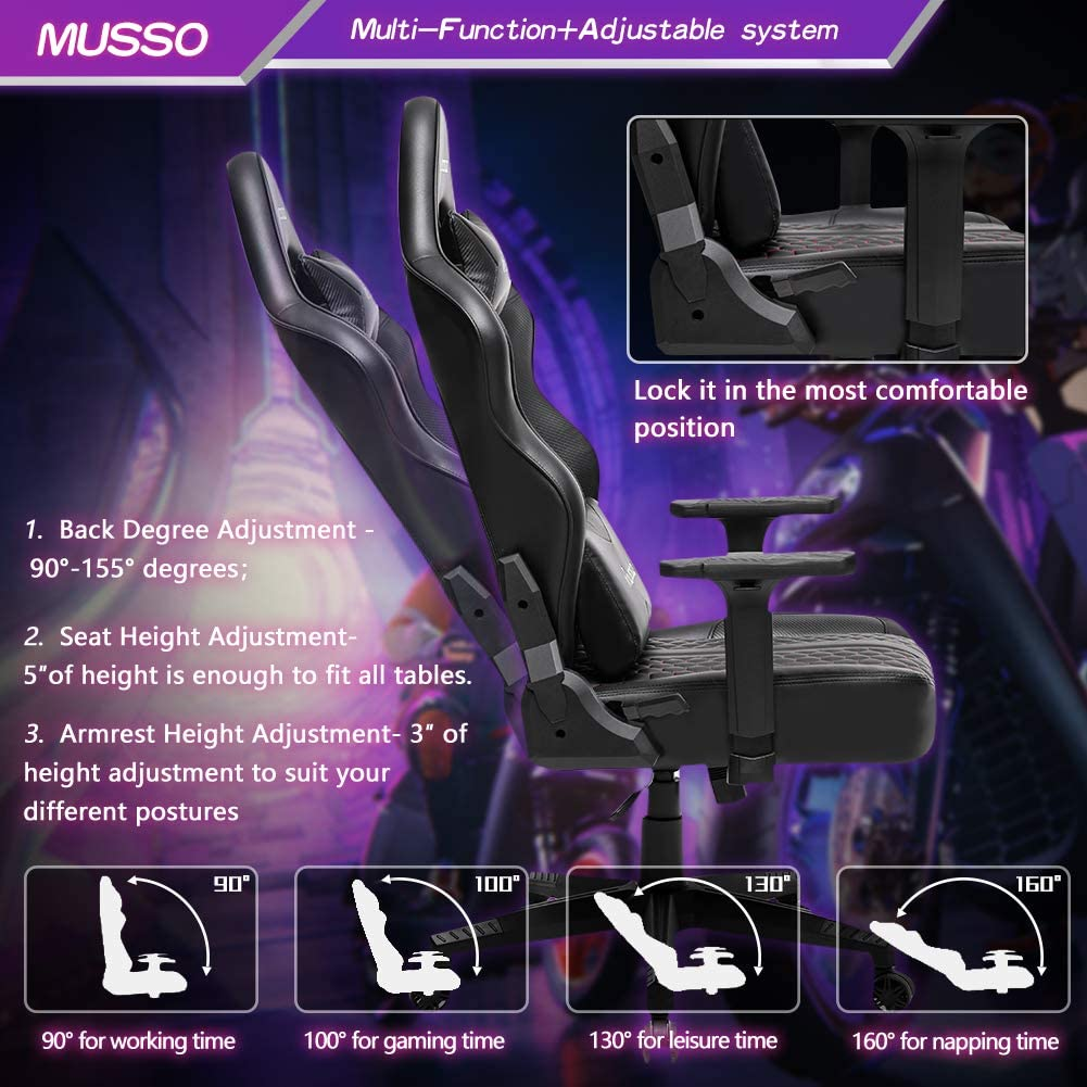 Musso Gaming Chair with Panther Embroidery Heavy Duty Adjustable Esports Computer Chair Adults Racing Video Game Chair Large Size PU Leather High-Back Executive Office Chair(White)