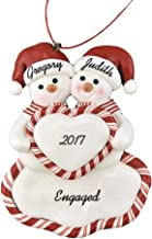 Calliope Designs Engaged Snow Couple Holding Heart Personalized Christmas Ornament 4.5