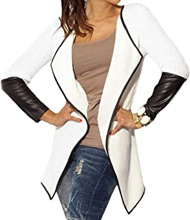 Energy Womens Lapel Fitted Open-Front Long Sleeve Pu Leather Patched Outwear Coat
