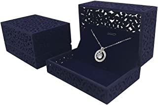 DesignSter Hollow Royal Blue Velvet Jewelry Long Necklace Box – Chain Pendant Display Organizer Gift Box