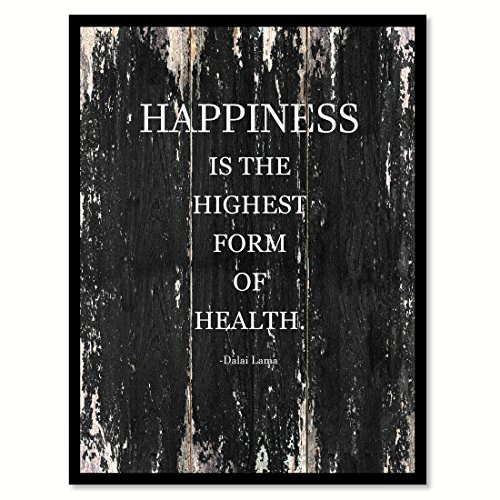 """Happiness Is The Highest Form Of Health - Dalai Lama Motivation Quote Saying Black Canvas Print Picture Frame Home Decor Wall Art Gift Ideas 7"""" x 9"""""""