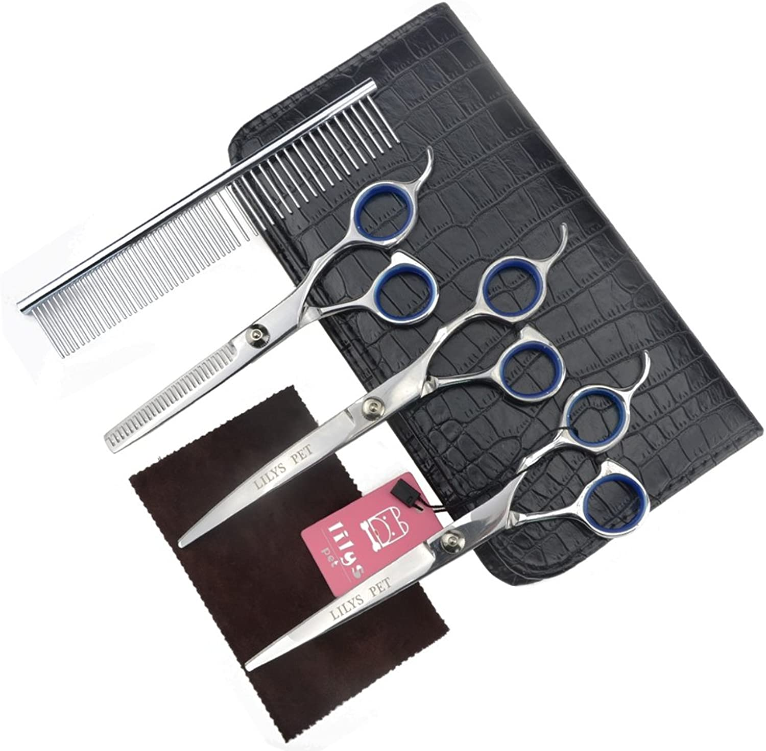 LILYS PET PINK blueE Ring Professional PET DOG Grooming scissors suit,3 Pieces of Scissors with a Comb and a Case,Sharp and Strong Stainless Steel Blade for Dogs Cats Hair Cutting (7.5, bluee Ring)