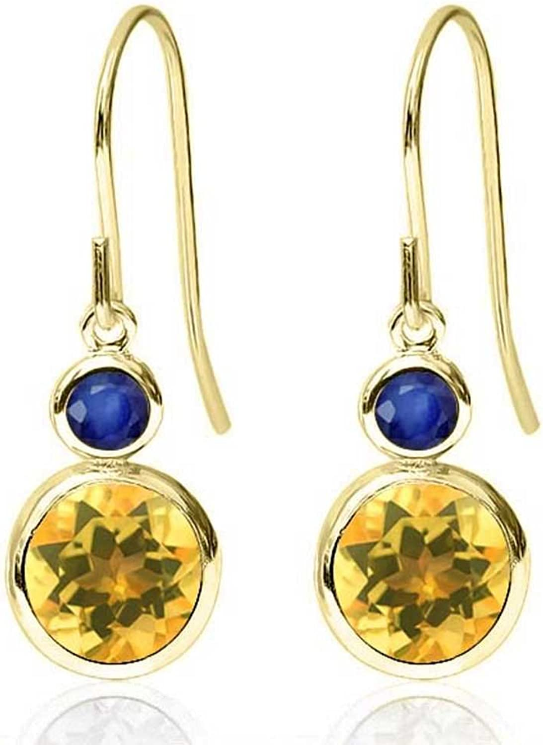 1.66 Ct Round Yellow Citrine bluee Sapphire 14K Yellow gold Earrings