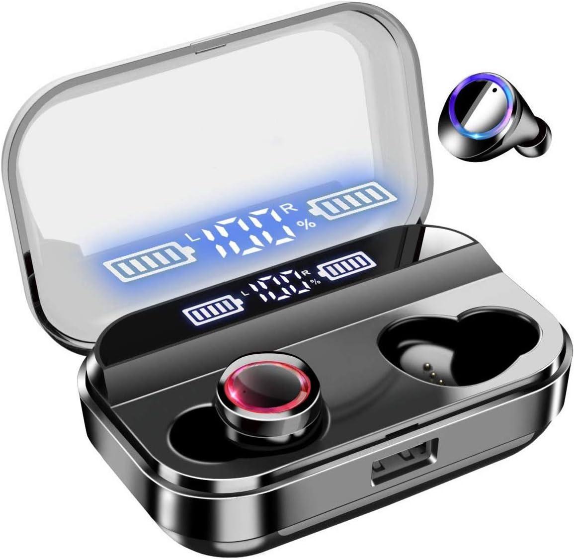 Bluetoothイヤホン 【NaruSky ワイヤレスイヤホン 】 Bluetooth 5.0+EDR 搭載CVC8.0 Hi-Fi ノイズキャンセリング 瞬間自動接続 ブルートゥース イヤホン 最大35時間連続使用 ハンズフリー通話 AAC&SBC対応 IPX7防水 Siri対応 Type‐C充電 小型/軽量 (ブラック); セール価格: ¥3,499