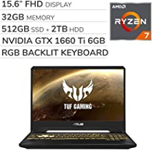 ASUS TUF Gaming 2019 15.6'' FHD Laptop Notebook Computer, AMD Ryzen 7 R7-3750H 2.3GHz, GTX 1660 Ti 6GB Graphics, 32GB RAM, 512GB SSD, 2TB HDD,RGB Backlit Keyboard,Wi-Fi,Bluetooth, Webcam,HDMI,Win 10