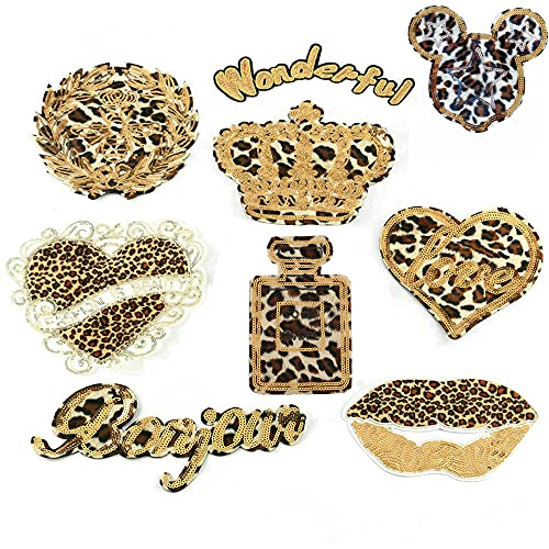 9 Pcs Fashion Love Heart Star Crown Patch Applique Sequin Leopard Print Stripe Patches Iron On Embroidered Patches for DIY Sewing Clothes Jacket (Style 1)