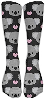 CHC40 Cute Koalas And Pink Hearts Training Socks Crew Athletic Socks Long Sport Soccer Socks Soft Knee High Sock Compression Socks For Men Women Calcetines largos