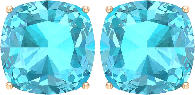 10 MM Cushion Cut Swiss Blue Topaz Solitaire Stud Earrings (AAA Quality),14K Yellow Gold,Swiss Blue Topaz