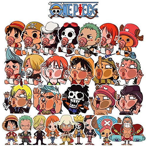 lunanana Anime One Piece Luffy Aufkleber, Vinyl Kawaii Sticker für Laptop, Wasserflaschen, Gepäck, Skateboard, PS4, Xbox One, Phone, Car Erwachsene(28pcs)