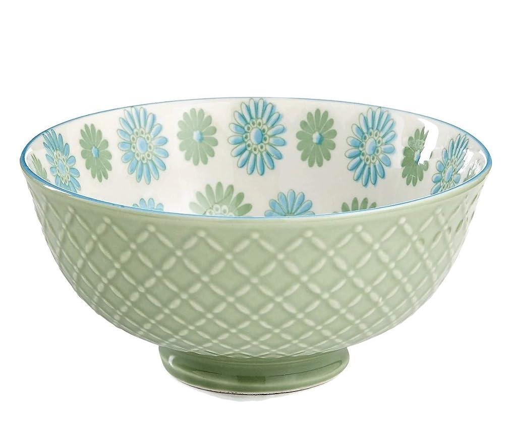Certified International Chelsea Embossed Floral Cereal Bowl - Green