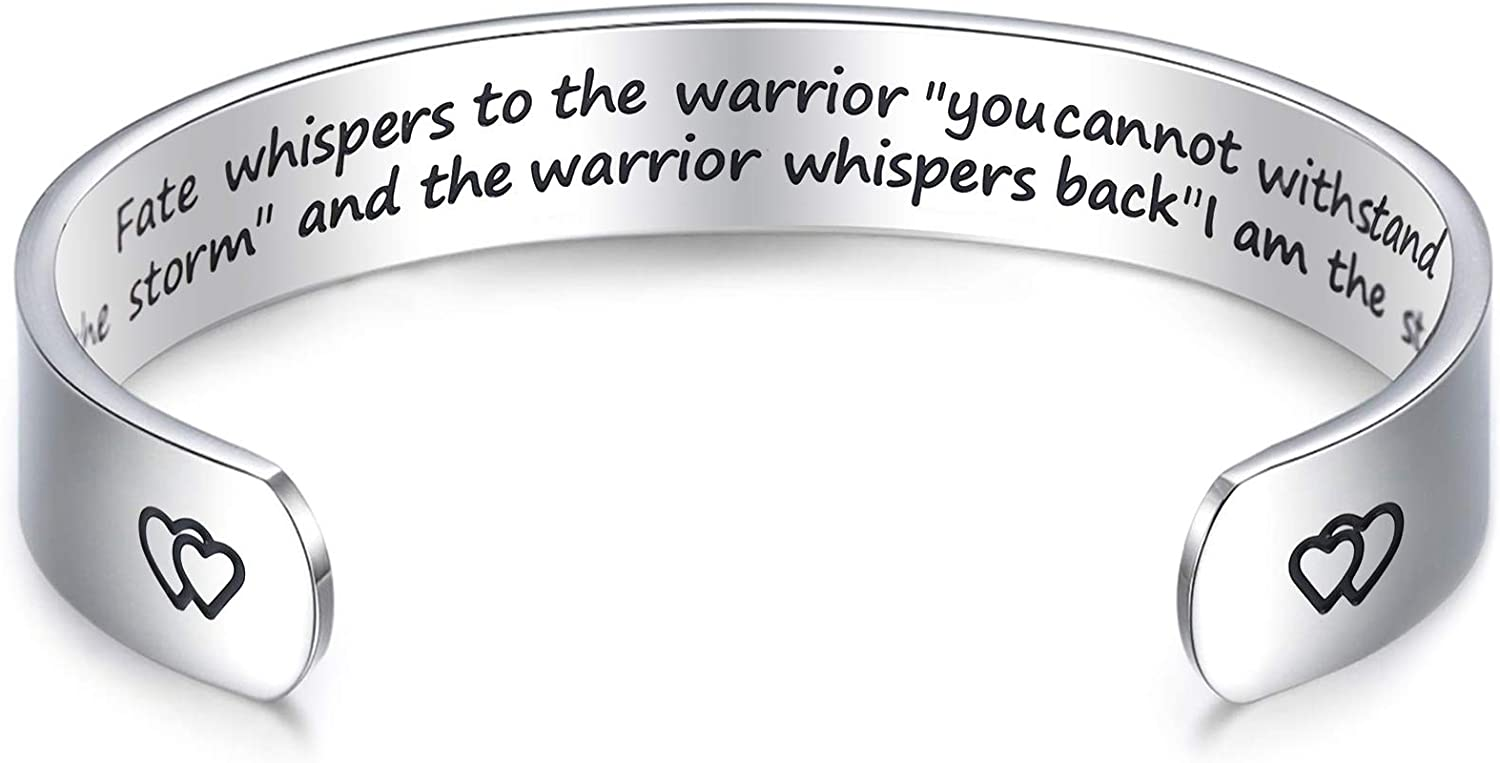 LParkin Encouragement Bracelet Warrior Bracelet Fate Whispers to The Warrior You Cannot Withstand The Storm. I Am The Storm