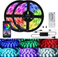 LED Strip Lights, 32.8 Ft 300 LEDs Color Changing 5050 RGB Music Sync Led Light Strip with Remote & Bluetooth Controller & Timer, Waterproof Led Lights for Bedroom, Kitchen, TV, Party, Bar Decoration