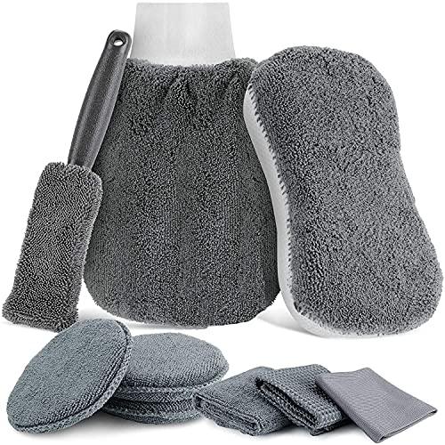Auto Autopflege Reinigung Set 9 PCS- Mikrofaser Auto Detaillierung Waschen Werkzeuge mit Autowasch Handtücher - Autobürsten für Auto Motorrad Innen und Außen Haushalt Reinigung