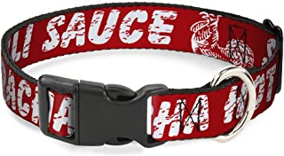 Buckle-Down Dog Collar Plastic Clip Sriracha Hot Chili Sauce Rooster Close Up Weathered Red White Available in Adjustable Sizes for Small Medium Large Dogs