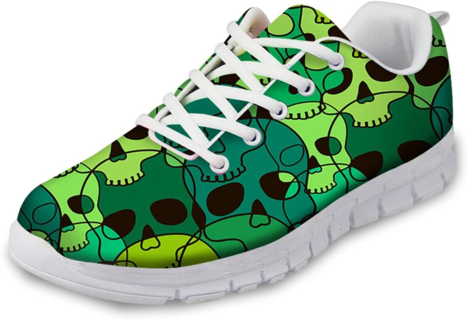 HUGS IDEA Women Men Fashion Sneakers Skull Print Running shoes