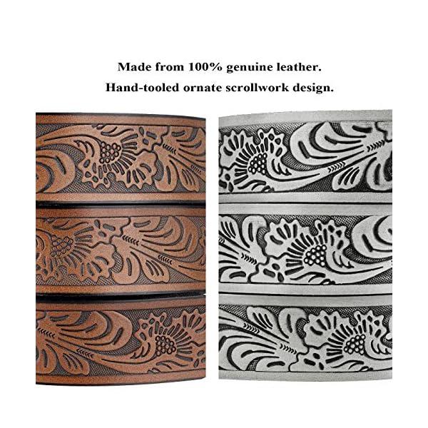 Western Floral Engraved Embossed Leather Belt 3