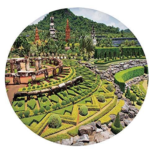 Mantel ajustable de poliéster con bordes elásticos, paisajismo en el bosque de jardín, bancos de piedra, camino, para mesas redondas de 40 a 44 pulgadas, para primavera/verano/fiesta/picnic.