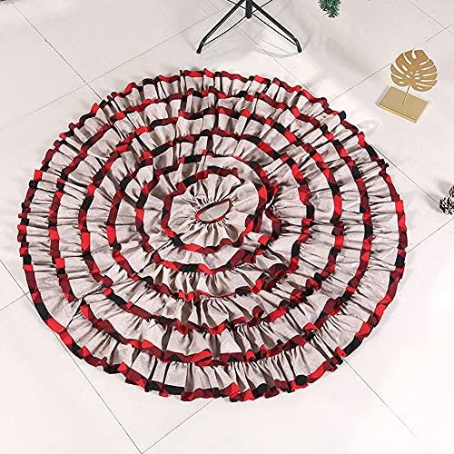 Falda de árbol 48 pulgadas Estera de árbol de Navidad grande 6 Capas con volantes de árboles de Navidad Faldas Negro Rojo Decoraciones de vacaciones Adornos de la alfombra Fiesta de vacaciones Boda