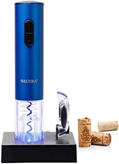 Secura Electric Wine Opener, Automatic Electric Wine Bottle Corkscrew Opener with Foil Cutter, Rechargeable (Blue)