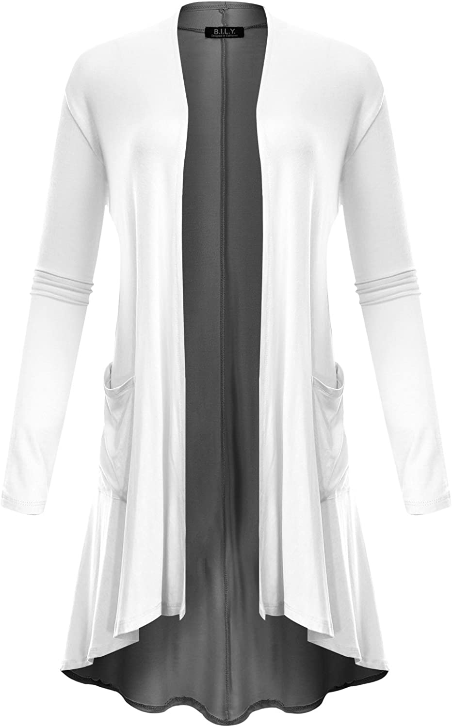 BH B.I.L.Y USA Women's Open Front HighLow Long Sleeve Front Pockets Cardigan White Medium