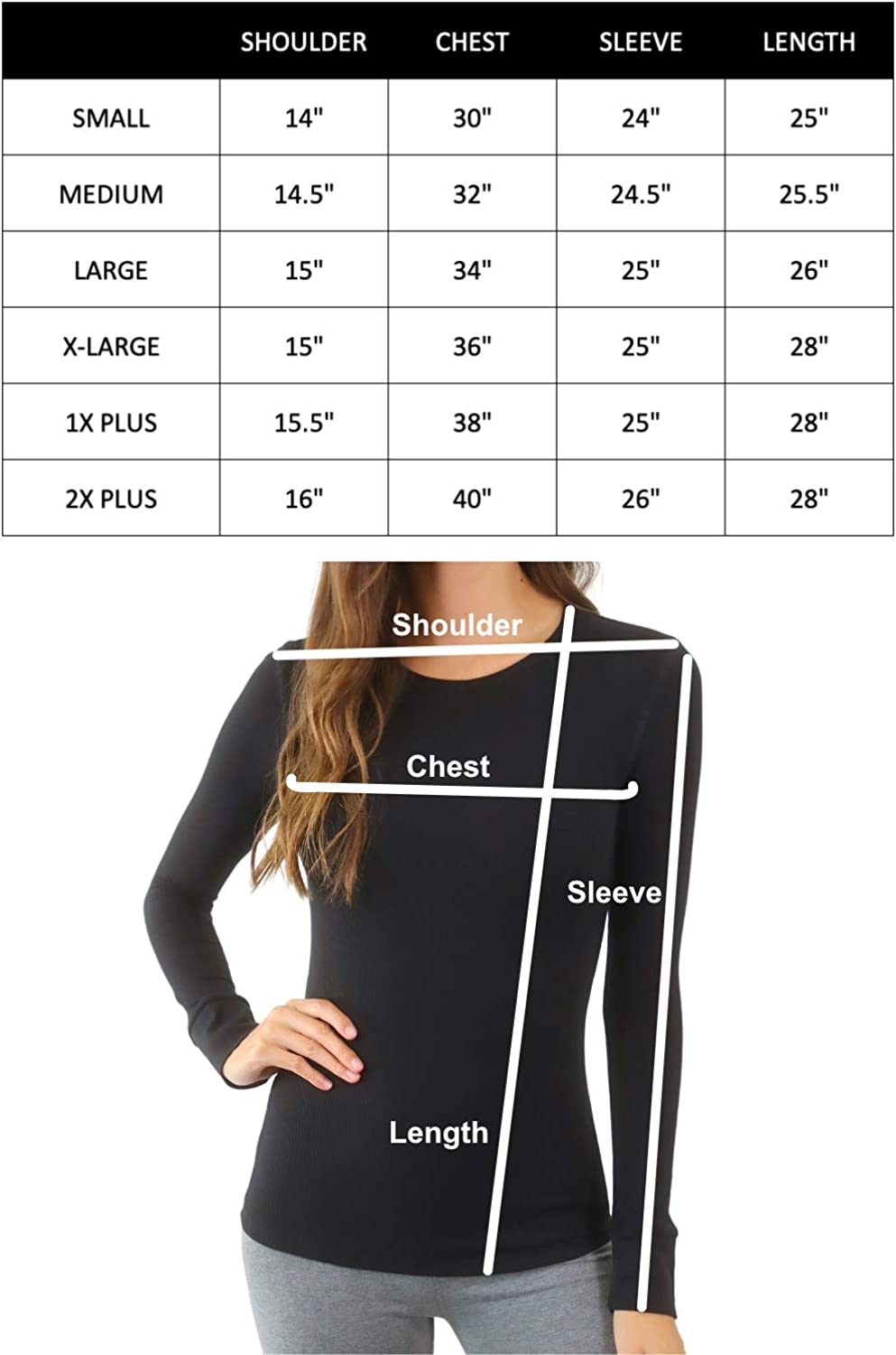 Pure Look Women's Long Sleeve Waffle Knit Stretch Cotton Thermal Underwear Shirt