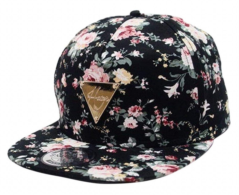 Plus Nao(プラスナオ) ベースボールキャップ 帽子 CAP ぼうし レディース 花柄 フラワープリント 三角プレート ゴールドプレート 可愛い お