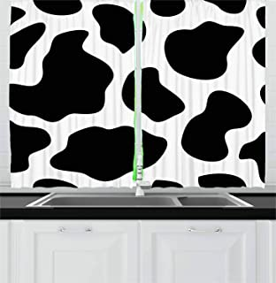 Ambesonne Cow Print Kitchen Curtains, Hide of a Cow with Black Spots Abstract and Plain Style Barnyard Life Print, Window Drapes 2 Panel Set for Kitchen Cafe Decor, 55