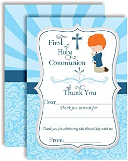 """First Holy Communion Religious Thank You Notes for Boys (Light Skin, Red Hair), Ten 4"""" x 5.5"""" Fill In The Blank Cards with 10 White Envelopes by AmandaCreation"""
