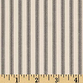 Santee Print Works Vertical Ticking Stripe Ivory Charcoal