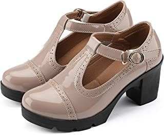 XIPAI Womens T-Strap Platform Shoes Mid-Heel Vintage Oxfords Dress Shoes