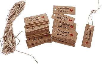 Segolike 100 Vintage Kraft Paper Handmade with Love Gift Tags Wedding Favor Tags
