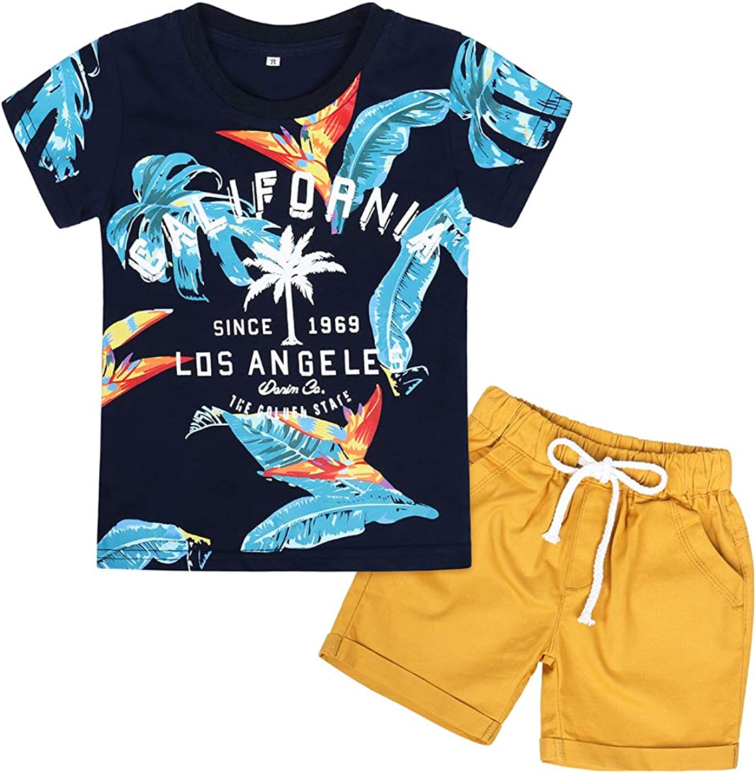 WonderBabe Toddler Boys Summer Clothes 2 Piece Sets Cotton Letter Short Sleeve Coconut Tree Tee and Shorts Outfits